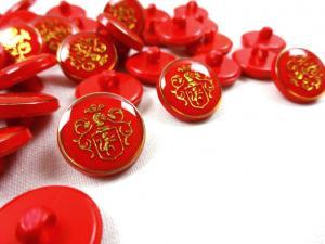 K015 Knapp Emblem 16 mm röd