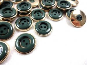 K106 Knapp 15 mm mörkgrön/guld