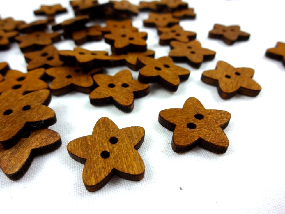 K299 Wood Button Star oak