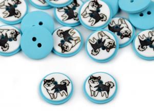 K367 Knapp Hund 15 mm ljusblå