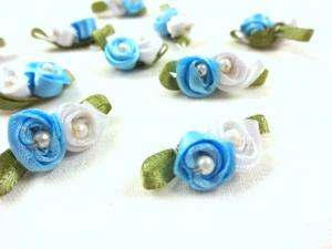 M364 Satin Roses with Pearls blue