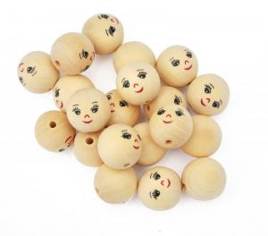 N1007 Wooden Beads with Faces (20 pcs)