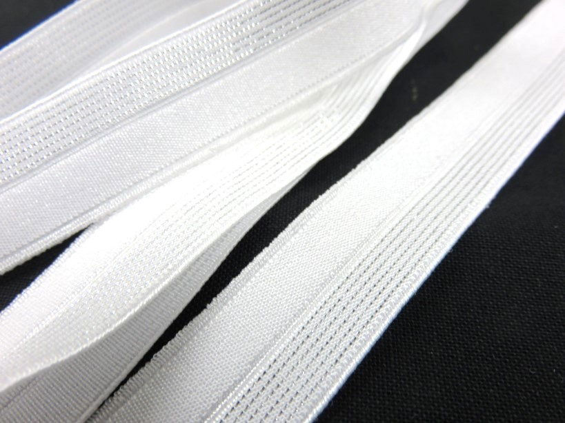 R134 Fold Over Elastic 16 mm white/silver