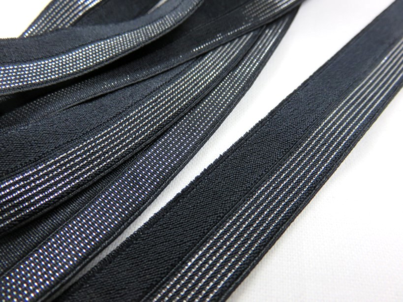 R134 Fold Over Elastic 16 mm black/silver