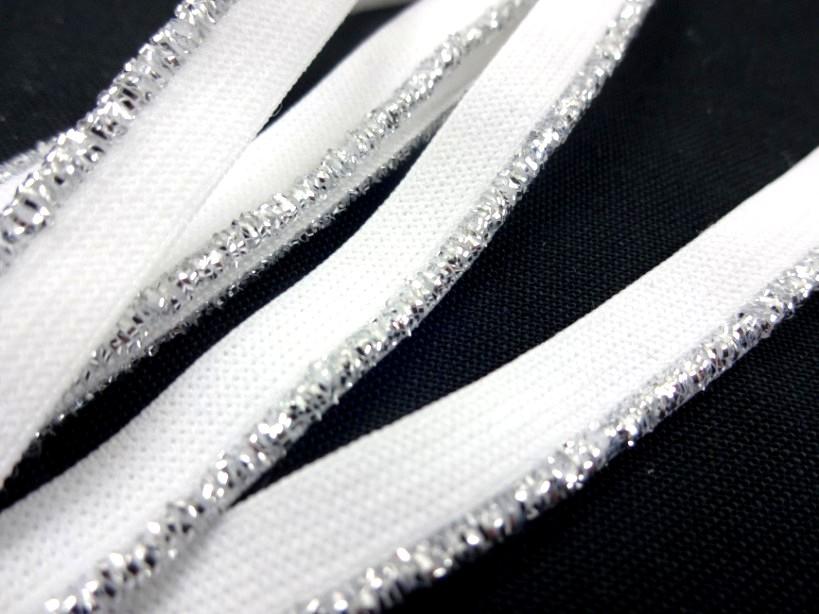 R145 Resår med silverkant 8 mm vit