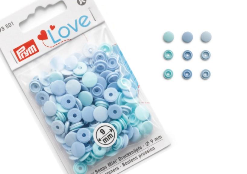 S599 Color snaps mini 9 mm blå (36 st)
