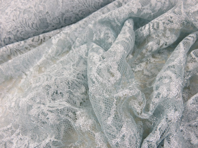 Lace Fabric Flowers light blue