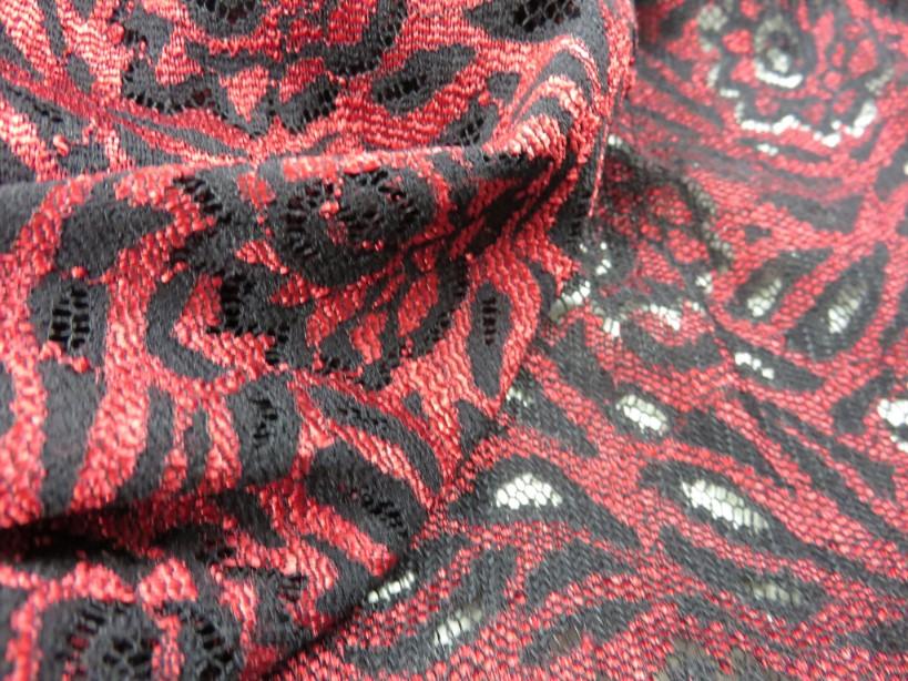 Spets Blom röd/svart