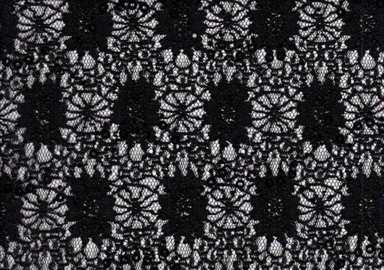 Paljettspets blommor svart