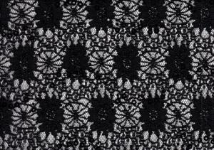 Sequin Lace Fabric with Flowers black