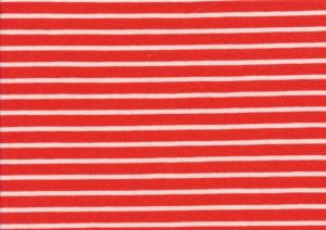 T2687 Jersey Fabric Stripes tomato red