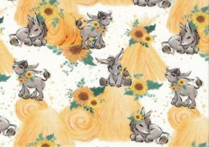 PIECE 34 cm - T5728 Jersey Fabric Donkeys and Hay Stacks white