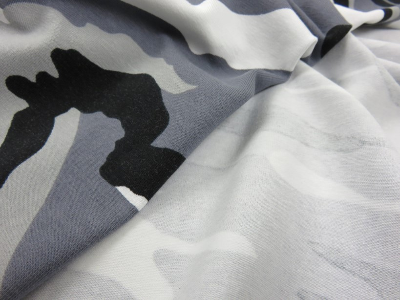 Jersey Fabric Camouflage grey