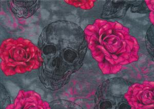 Jersey Fabric Rose Skull grey