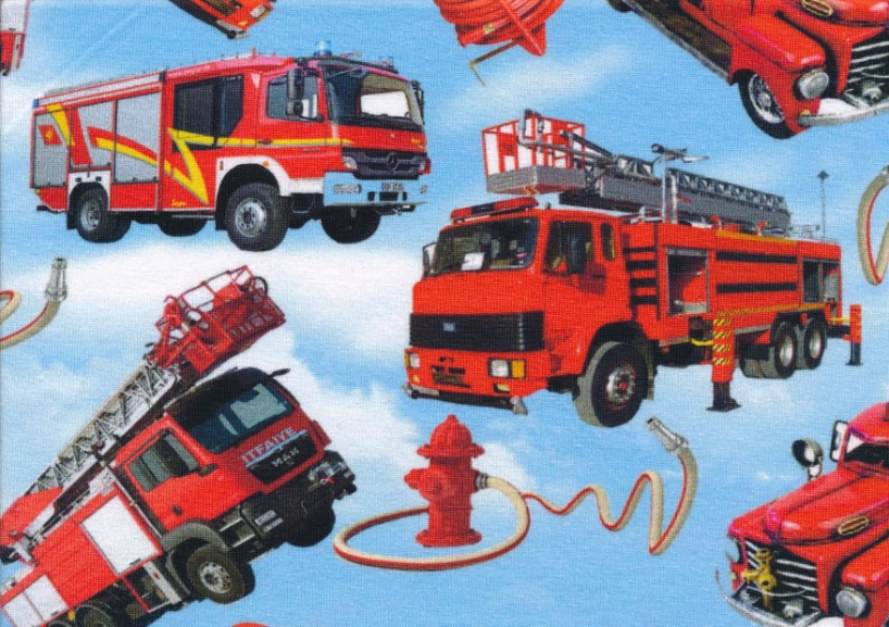 T4544 Jersey Fabric Fire Trucks