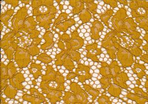 T4738 Lace Fabric Floral mustard yellow