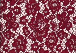 T4738 Lace Fabric Floral wine red