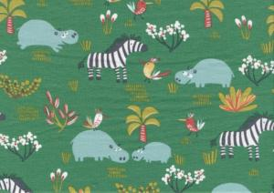 T4791 Jersey Fabric Hippo and Zebra