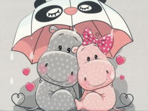 T5032 Sweatshirt Fabric Hippo Friends (40 x 50 cm)