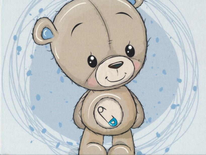 T5051 Sweatshirt Fabric Teddy Bear blue (40 x 50 cm)