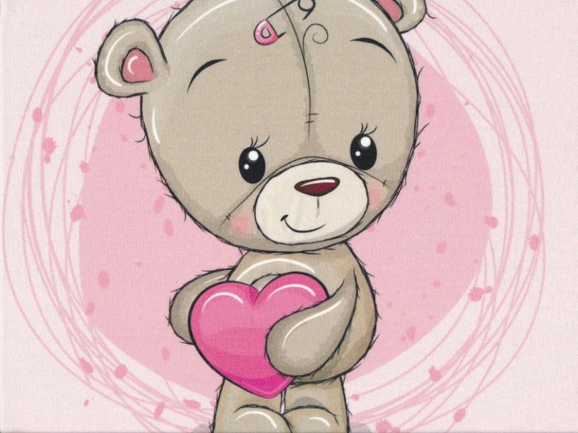 T5052 Sweatshirt Fabric Teddy Bear pink (40 x 50 cm)