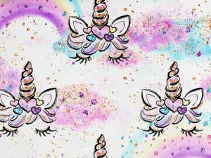 Piece 13 cm - T5061 Sweatshirt Fabric Pink Clouds and Unicorns