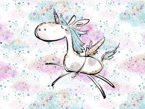 T5063 Sweatshirt Fabric Unicorn on Pink Clouds (40 x 50 cm)