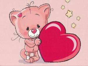 T5066 Joggingtyg Katt med hjärta rosa (40 x 50 cm)