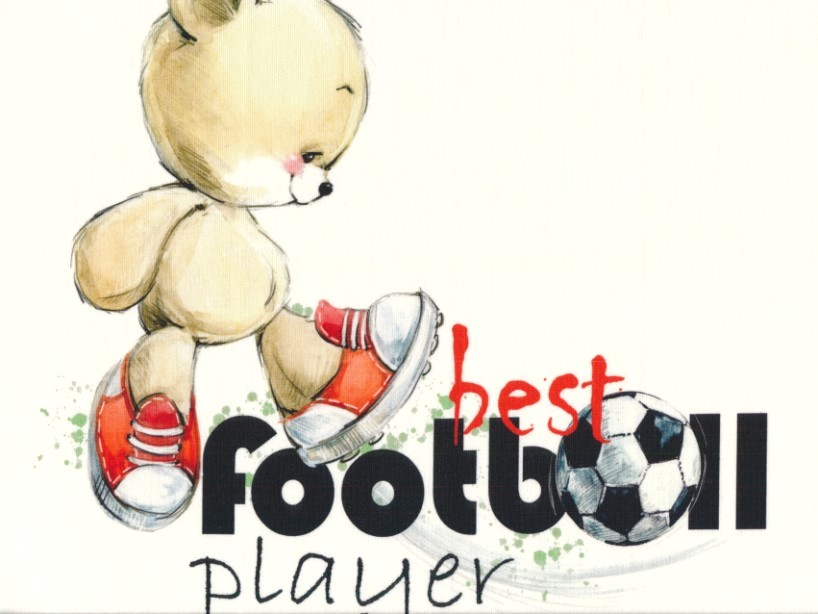 T5106 Sweatshirt Fabric Football Bear (40 x 50 cm)