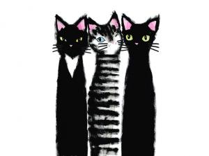 T5110 Sweatshirt Fabric Three Black Cats (40 x 50 cm)