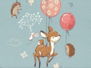 T5192 Sweatshirt Fabric Forest Animals with Balloons blue (40 x 50 cm)
