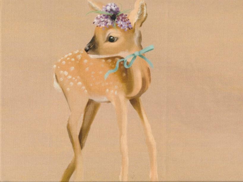 T5224 Sweatshirt Fabric Deer brown (40 x 50 cm)