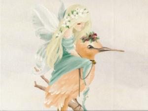 T5226 Sweatshirt Fabric Forest Fairy with Bird grey (40 x 50 cm)