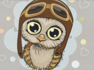 T5275 Sweatshirt Fabric Pilot Owl grey (40 x 50 cm) **