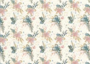 T5312 Sweatshirt Fabric Flowers pink/blue/gold