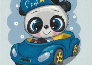 T5319 Joggingtyg Panda i bil (40 x 50 cm)