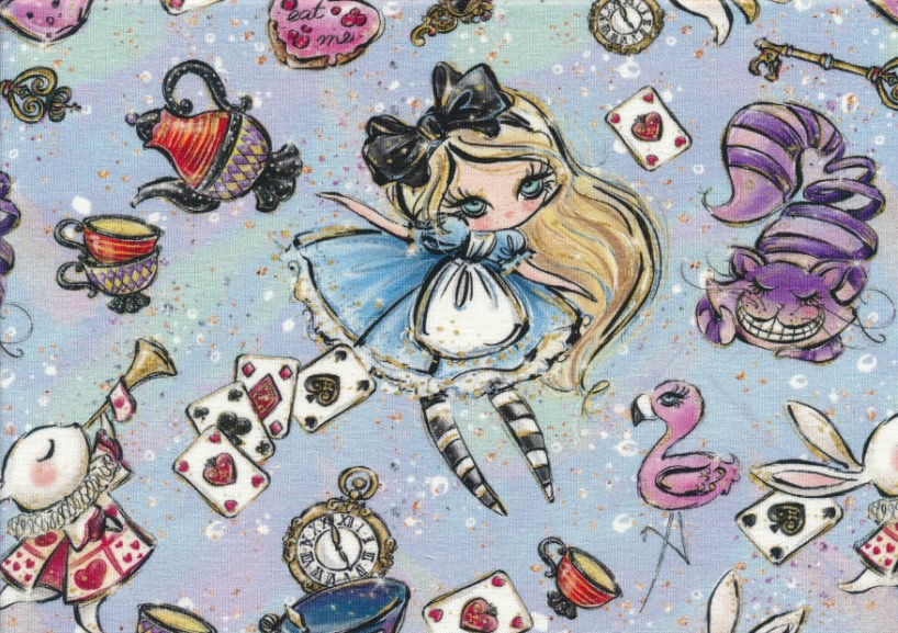 T5384 Sweatshirt Fabric Alice with Things