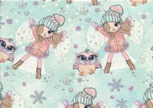 T5394 Sweatshirt Fabric Girl with a Owl friend