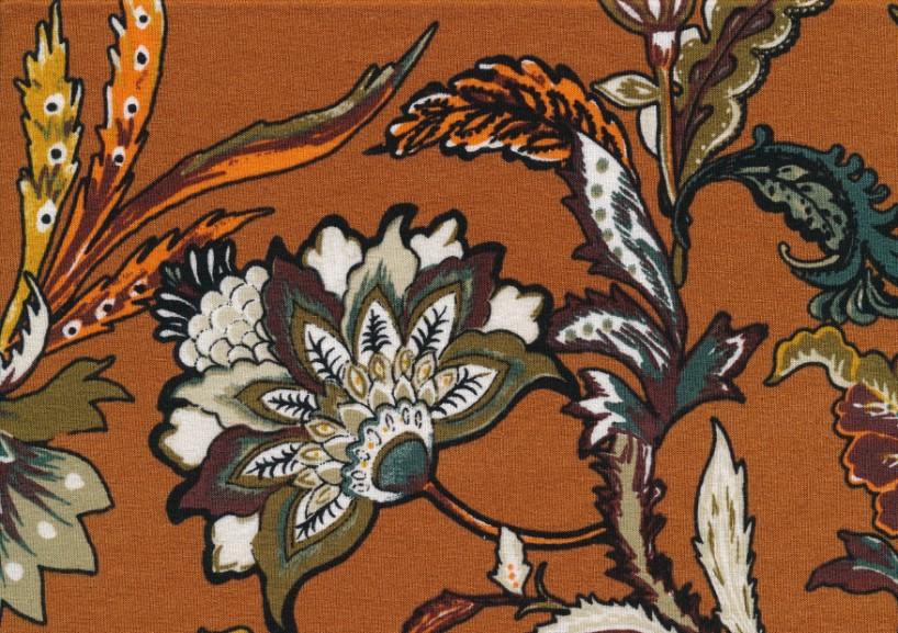 T5414 Viscose Jersey Fabric Flower brun