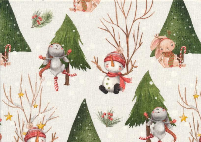 T5417 Sweatshirt Fabric Snowmen and rabbits
