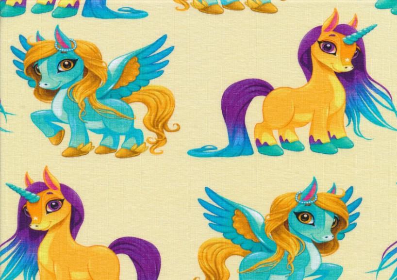 T5433 Jersey Fabric Unicorn yellow