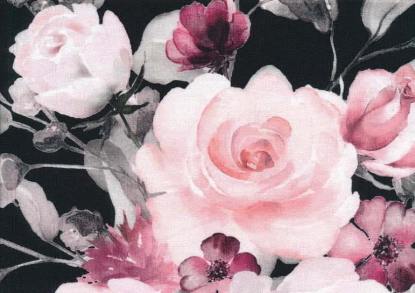 T5438 Trikå Rosa blombukett svart