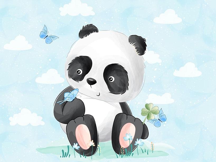 T5460 Joggingtyg Panda på äng (40 x 50 cm)**