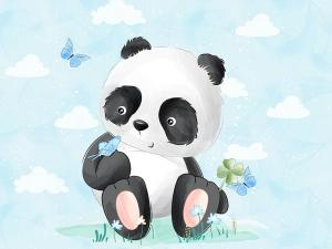 T5460 Sweatshirt Fabric Panda on meadow (40 x 50 cm)  **