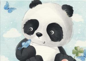 T5460 Joggingtyg Panda på äng (40 x 50 cm)