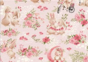 T5465 Sweatshirt Fabric Rabbits in love