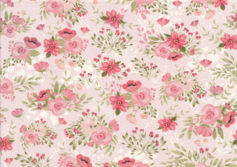T5466 Sweatshirt Fabric Flowers pink