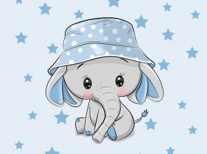 T5473 Sweatshirt Fabric Elephant with hat (40 x 50 cm)  **