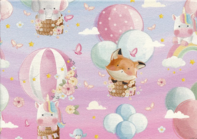 T5475 Sweatshirt Fabric Flying Animals pink