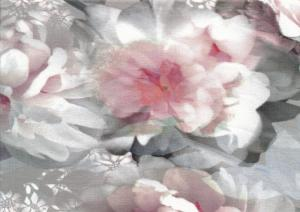 T5528 Jersey Fabric pink Flower on grey Background